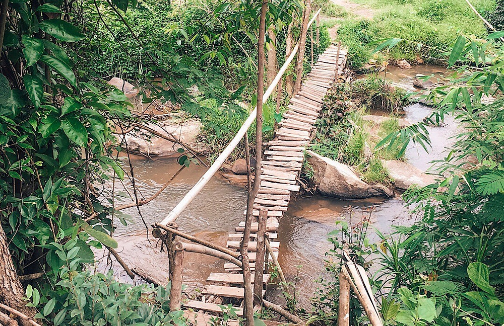 The wooden bridge leading to Elephant Jungle Sanctuary