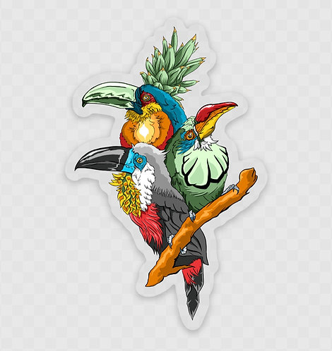 "Toucan Fiesta 3"" Clear Sticker"