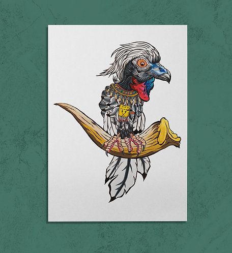Red throated Piping Guan 11x14 PRINT