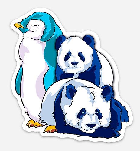 "Panda Penguin Party 5"" Sticker"