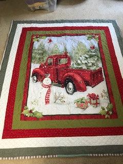 Vintage Red Truck in Winter