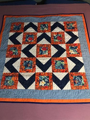Blue / Orange Hibiscus Quilt