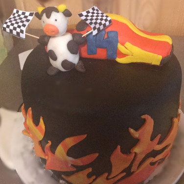 Cow, Race Car, and Flame Cake