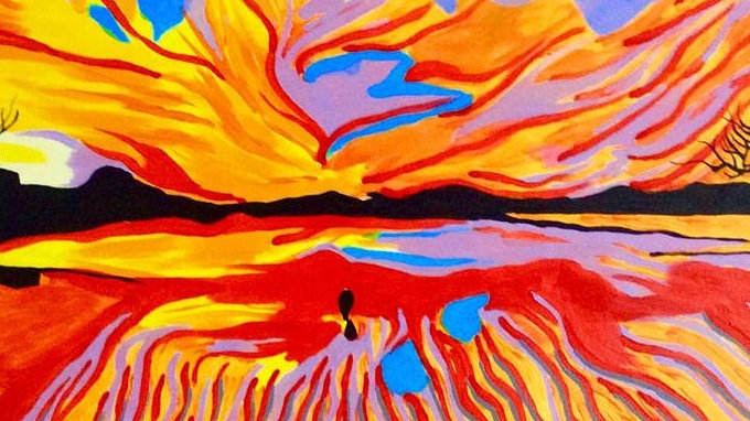 "A Red Sunset 20""x30"" Acrylic on Canvas by Ariel Chavarro Avila"