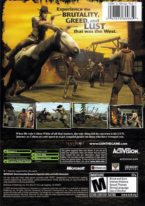 gun 2005 neversoft activision microsoft xbox 360 sony playstation ps2 nintendo gamecube windows pc boxart cover rgg game of the month retrogamegeeks wild west retrogaming western colton white thomas jane gaming video game