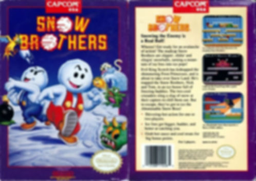 snow bros nick and tom brothers toaplan capcom usa nintendo entertainment system nes ntsc front back cover box art pal retrogamegeeks.co.uk review rgg retrogaming videogames gamers games gaming retro game geeks screenshots screenshot arcade