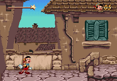 pinocchio sega megadrive genesis review rgg retrogamegeeks.co.uk retrogaming videogames retro game geeks walt disney interactive virgin animated classic screen shot pal smd gamers gaming games films movies