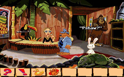 Sam & Max Hit The Road lucasarts point n click adventure steve purcell scumm imuse ms dos windows pc mac os cartoon comic freelance police detectives bigfoot telltale rgg retrogamegeeks.co.uk retrogaming videogames gamers gaming games retro game geeks gotm