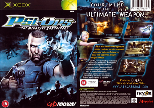 psi ops the mindgate conspiracy original xbox microsoft sony playstation 2 ps2 pc windows midway guns retro game review psiops box art pal rgg retrogaming retrogamegeeks.co.uk videogames gaming gamers games retro game geeks