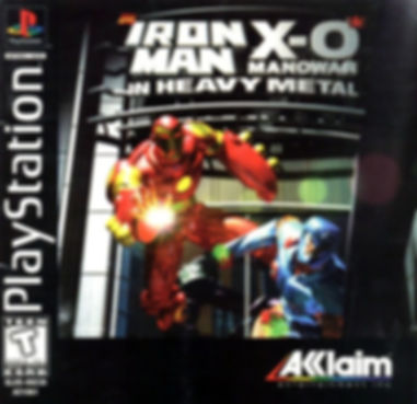 iron man x-o manowar heavy metal acclaim valiant marvel comics retrogaming review rgg retrogamegeeks front cover box art title retro video games ps1 psx ntsc ironman xomanowar