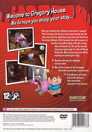 gregory horror show capcom playstation ps2 rgg retrogamegeeks.co.uk retrogaming videogames horror mental health cgi playstation2 retro game geeks remembers box art back cover