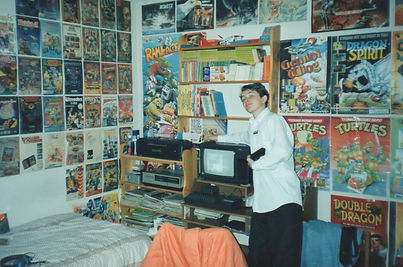 mark elliott proud teenage geek with his spectrum game Caverunner