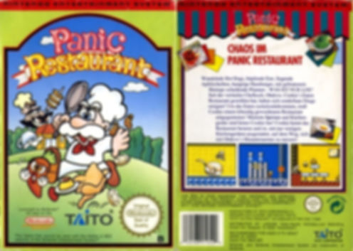 panic restaurant taito european nintendo entertainment system nes front back cover box art pal retrogamegeeks.co.uk review rgg retrogaming videogames gamers games gaming retro game geeks screenshots screenshot action platformer