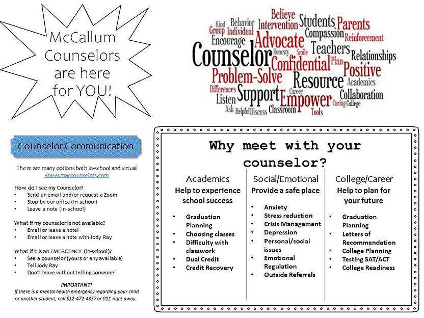 Counselor Flyer with all counselors page