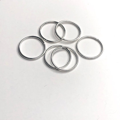 Silver Hair Rings XL smooth finish  (set of 6)