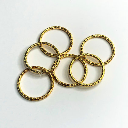 Gold Hair Rings  XL textured finish (set of 6)