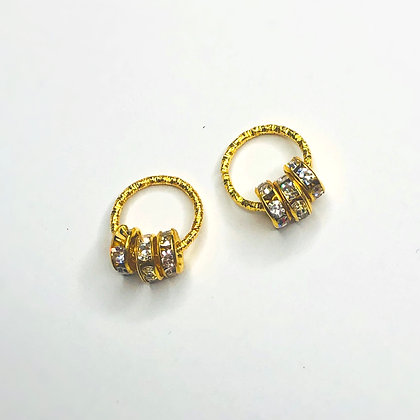 Set of 2 mini gold hair rings with rhinestone detail