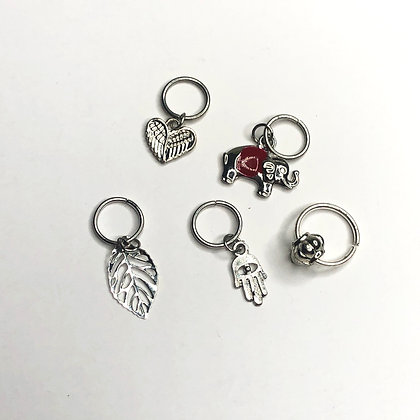 Assorted Silver Hair Charms (set of 5)