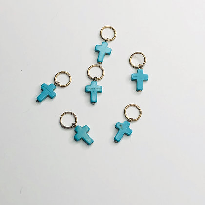 Gold Hair Rings with turquoise cross (set of 6)