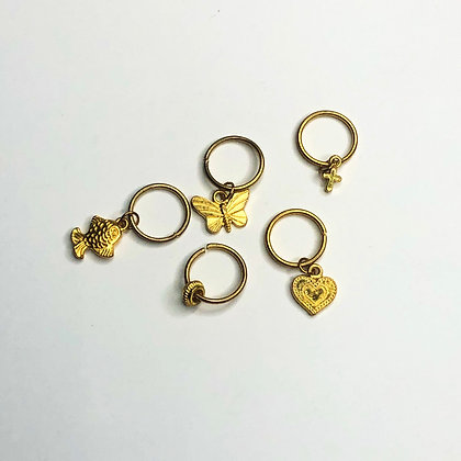 Assorted Gold Hair Charms (set of 5)