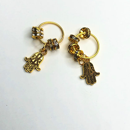 Gold Hair Rings with hamsa and rhinestone detail (set of 2)