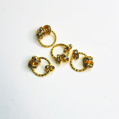 Gold mini hair rings with rhinestones (set of 4)