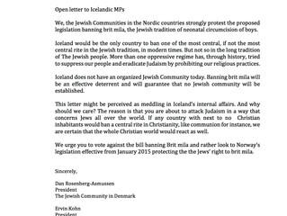 Joint statement against anti circumcision legislation in Iceland