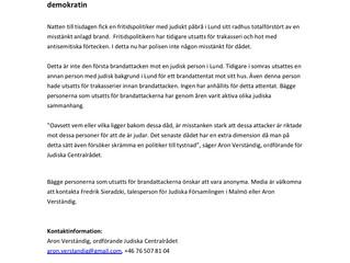 Pressmeddelande: Brandattentaten mot judiska personer attacker mot den svenska demokratin