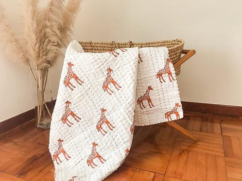 Organic handcrafted quilt 'Giraffe'