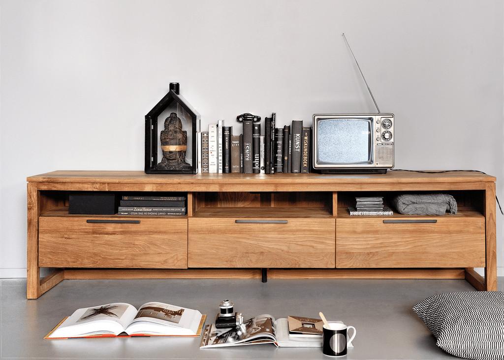 Teak-Light-Frame-TV-Cupboard---2-Drawers
