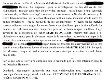 Recommendation letter from Bolivian prosecuting attorney about my services
