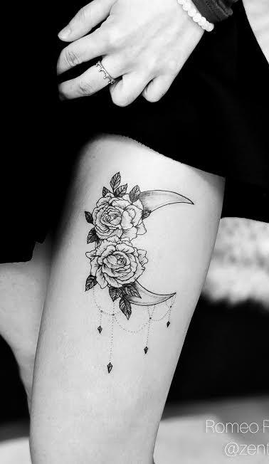 Crescent Moon & roses