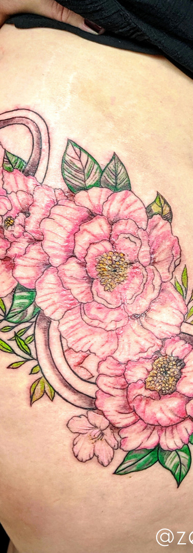 Peonies, Cherry Blossoms & Snake