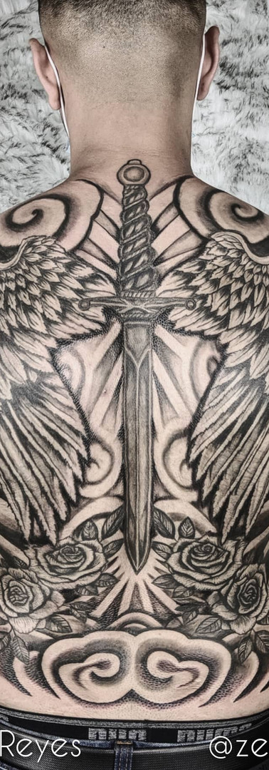Wings, Roses, Dagger Backpiece