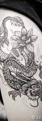 Dragon with Lotus flowers