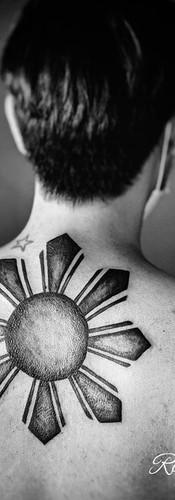Filipino Sun Cover Up Tattoo