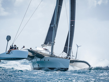 Finn and Tryst—A Very Different Set of Trimarans—Are Big Winners on Day 1 of CMC