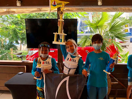 Lolie Osswald from St. Barths overall Winner of the 15th St. Maarten Optimist Championship 2020