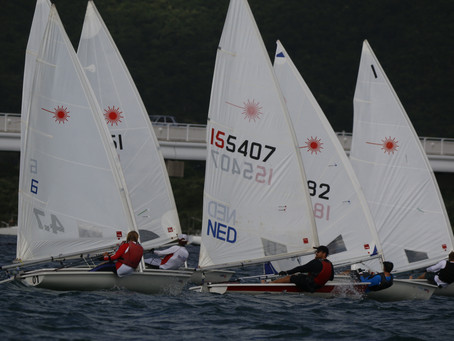 First race day Aberson Series saw stiff but managable winds and a great Laser fleet