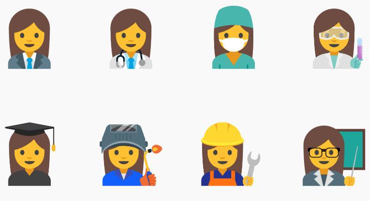 Emoji - Empoderamento - Diversidade de profissões
