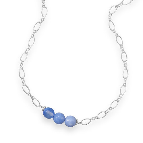 Handmade Sterling Silver Blue Fire Agate Necklace