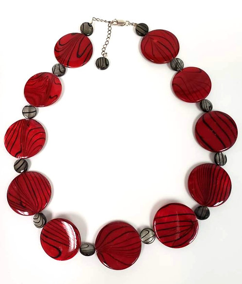 Red/Black Circle Necklace