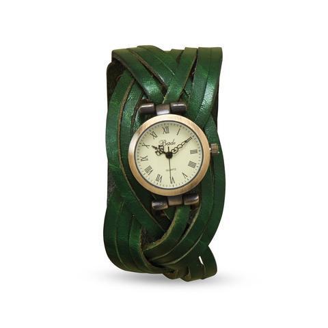 Green Braided Leather Fashion Watch