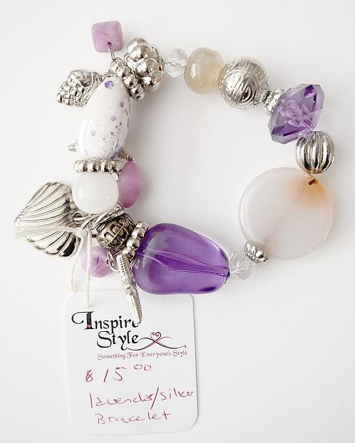 lavender/White Silver Bracelet