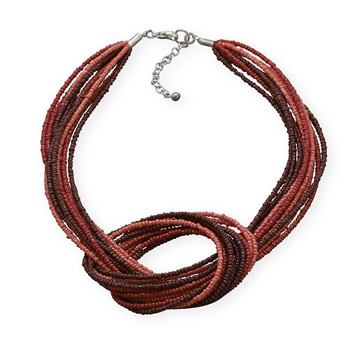 Shades of Red Beaded Knotted Necklace