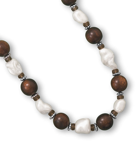 Wood Bead and Shell Nugget Fashion Necklace