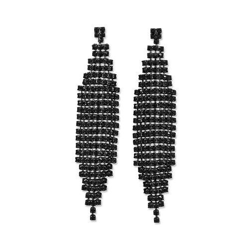 Black Bead Chain Drop Earrings