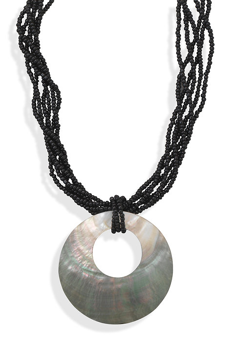Glass Bead Fashion Necklace with Shell Pendant