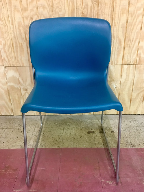 Teal Shell Stackable Chair w/ Metal Legs