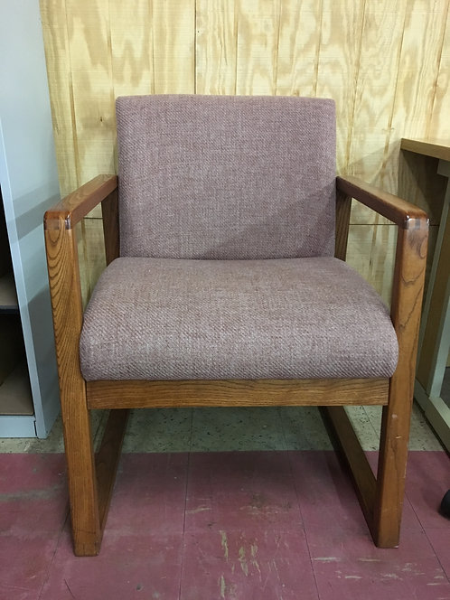 Maroon & Wood Guest Chair